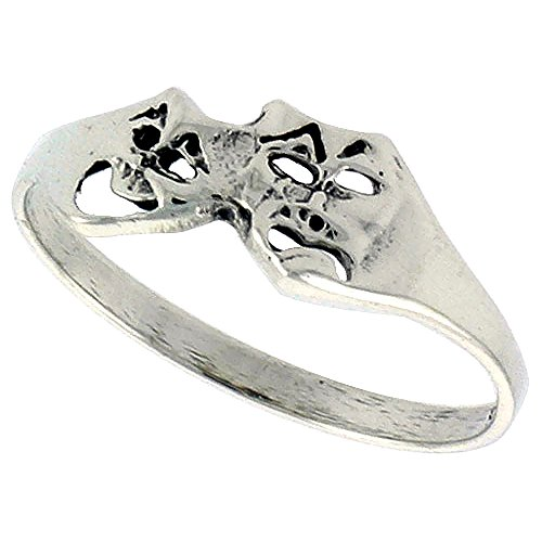 Sterling Silver Drama Masks Ring for Women Dainty 1/4 inch size 8.5