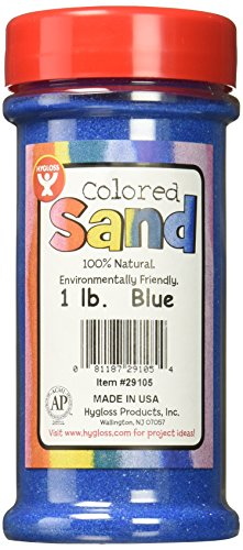 Hygloss Products Colored Play Sand - Assorted Colorful Craft Art Bucket O' Sand, Blue, 1 lb ()