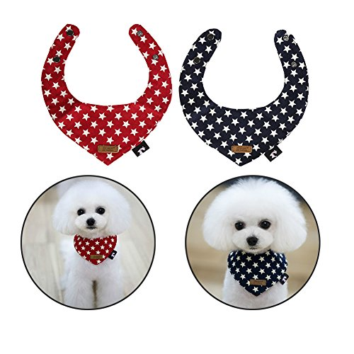 Dog Bib - Petacc Stylish Pet Saliva Scarf Pet Drool Bib Triangle Neckerchief for Small Dogs and Cats, Set of 2