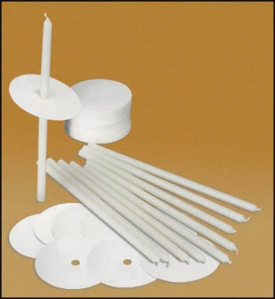 100 Polar Congregation Candle Kits with Drip Protectors 1⁄4'' X 8 1⁄2''