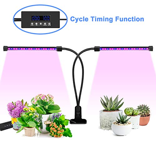 Grow Light, [Cycle Timing] 18W Dual Head Timing Grow Light, Ankace 36 LED 5 Dimmable Levels Plant Grow Lights for Indoor Plants with Red/Blue Spectrum, Adjustable Gooseneck, 3 Switch Modes