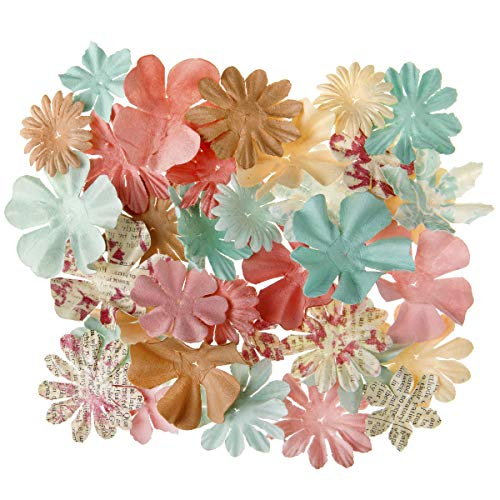 Embellishments Paper Flower (Darice 30061982 Shabby Chic Floral Embellishments: 2 inches, 65 Pack, Assorted)