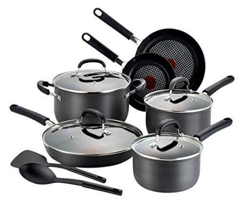 T-fal C037SC OptiCook Hard Anodized Thermo-Spot Scratch Resistant Titanium Nonstick Oven Safe PFOA Free Cookware Set, 12-Piece, Black