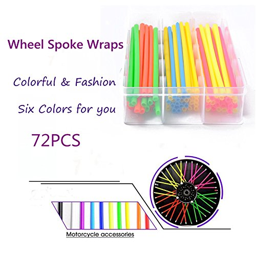 Ocamo 72  pcs universel Moto Dirt bike Spoke Skins couvertures 17  cm de long multicolores Wraps de jante protection avec serviette