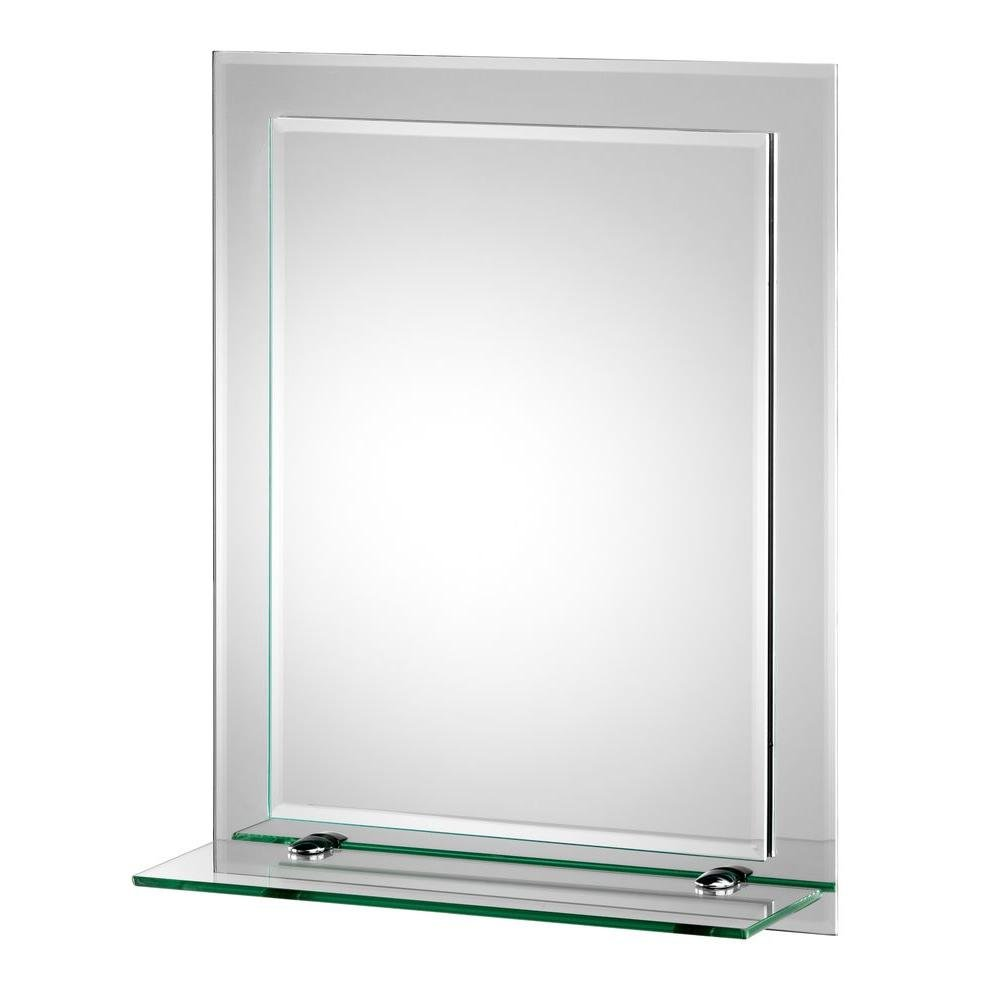 Croydex Rydal Double Layer Wall Mirror 20-Inch x 16-Inch with Shelf and Hang 'N' Lock Fitting System