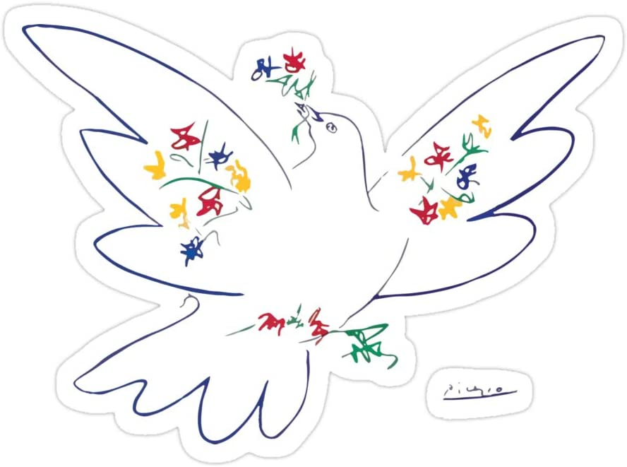 Elizabeth 3 PCs Stickers Pablo Picasso Dove of Peace 1949 Artwork Reproduction 3 x 4 Inch Die-Cut Wall Decals for Laptop Window Car Bumper Helmet Water Bottle