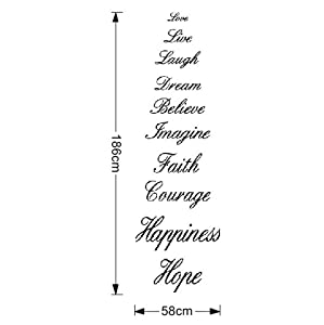 Angsuphe Love Live Laugh Dream Believe Imagine Faith Courage Hope Happiness Quotes Wall Decal for Home Decor Stairs Vinyl Wall Sticker