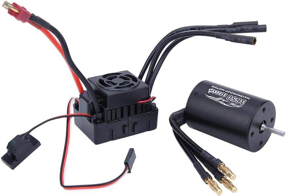 TOOGOO 1:10 Car Bl3650 3900Kv Brushless Motor 45A Waterproof Brushless Esc For 1//10 Rc Car