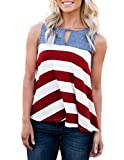 MEROKEETY Women's Summer Striped Casual Tank Top Keyhole Contrast Color Sleeveless T Shirt Blouse