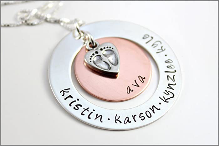 amazon com personalized grandma necklace baby feet charm hand