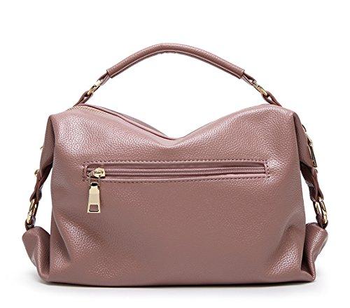 Top Handle Satchel Pink Bags Shoulder amp;Sue Lady Utility Purple Mn Compartment Women Handbag PU Soft Pillow Leather zvc1c6qw