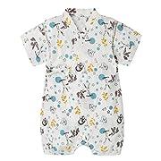 PAUBOLI Baby Japanese Kimono Robe Organic Cotton Infant Comfy Loose Pajamas (3-9 Months, 17)