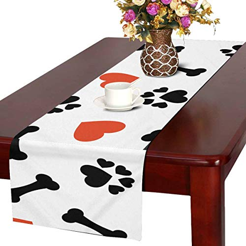 INTERESTPRINT Christmas Table Runner and Dresser Scarf, Rectangular Dog Bone, Paw Print and Red Heart 14x72 Inchs