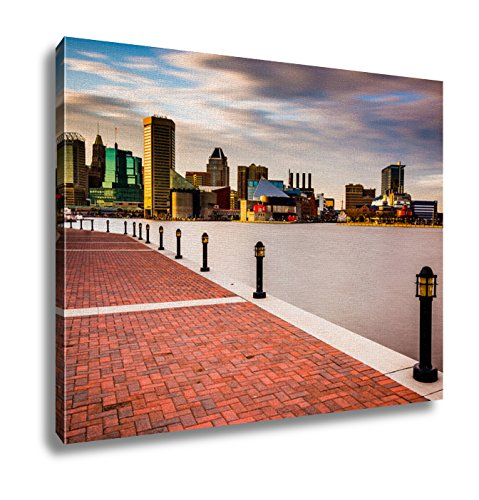 Ashley Canvas Long Exposure Of The Skyline And Waterfront Promenade In Baltimore Maryland Wall Art Decor Stretched Gallery Wrap Giclee Print Ready to Hang Kitchen living room home office, - & Harborplace Gallery The