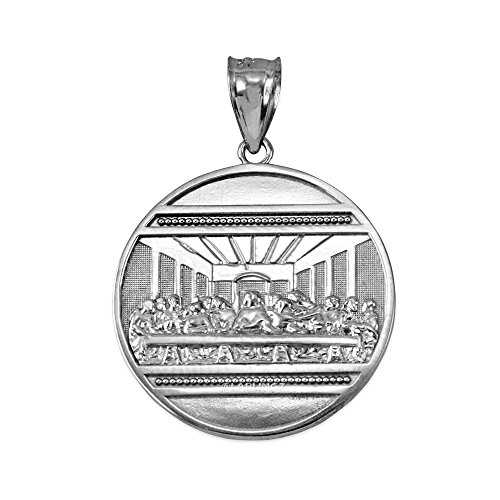 (LA BLINGZ Sterling Silver Last Supper Medallion Pendant)