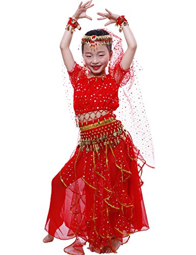 [Astage Big Girls` Belly Dance Carnival Dancing Dress Red L] (Belly Dancing Dress)