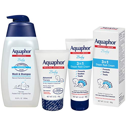 Aquaphor Baby Welcome Baby Gift Set – Free WaterWipes and Bag Included – Healing Ointment, Wash and Shampoo, 3 in 1…