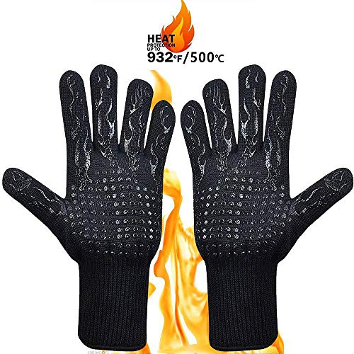 - Abseco BBQ Grill Gloves, 1472°F Heat Resistant Grilling Gloves, Barbecue Gloves for Smoker, 13