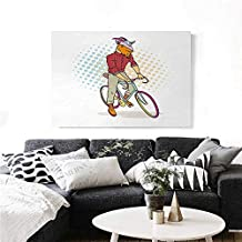 """homehot Retro The Picture for Home Decoration Hipster Goat on Bicycle Fashion Model Horns Hooves Teenager Boy Colorful Artwork Customizable Wall Stickers 28""""x20"""" Multicolor"""