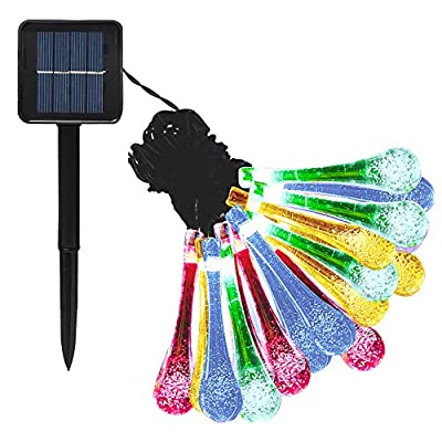 Goldenwide Solar Outdoor String Lights 20 Led Water Drop Solar String Fairy Waterproof Lights Lights Outdoor Solar String lights for Garden,Fixture, Patio, Yard, Home, Parties