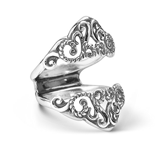 (Carolyn Pollack Sterling Silver Filigree Ring Guard - Size 10)