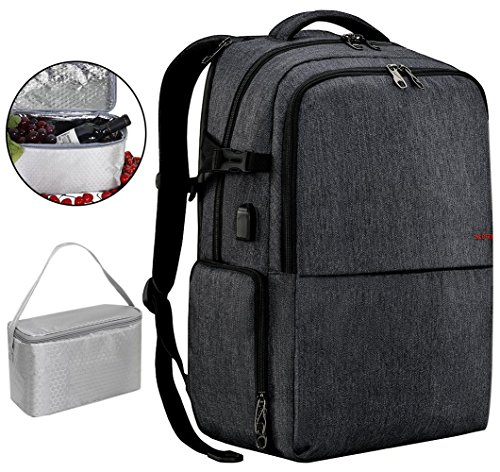 Travel Picnic Backpack for Men Women Waterproof 17 inch Laptop Backpack with USB Charging Port Independent Compartment for Lunch Box or Shoes Waterproof Large Capacity Sporty Busniess Bag Dary Grey - Backpack Lunch Box