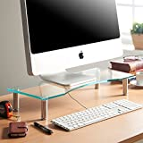 VonHaus Monitor Stand for Desks | Height Adjustable | Screen Riser for Computers, Laptops & TVs | Clear Curved Glass With Aluminium Legs | Designed for Home or Office | 56 x 24cm