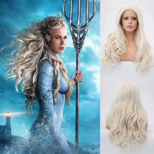 Blue Bird Queen of Atlanta Cosplay Wigs in Aquaman Synthetic Lace Front Body Wave Wig Long Natural Wavy Snow White Hair With Middle Part for Women Daily & Party Use