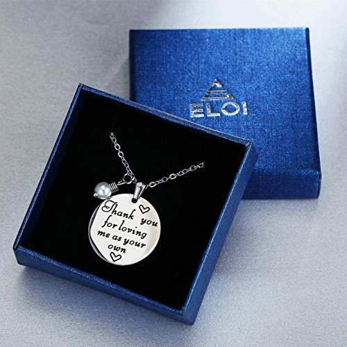 ELOI Christmas Gift for Stepmom Thank You For Loving Me As Your Own Necklace Mother's Day Gifts Bonus Mom Pendant Mother in Law Jewelry by ELOI (Image #3)