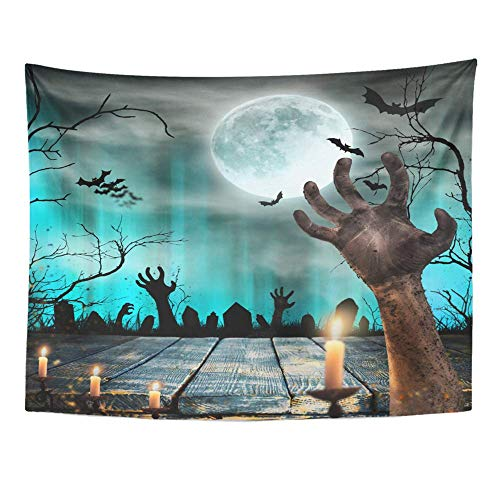 SPXUBZ Wall Tapestry Blue Apocalypse Spooky Halloween Old Trees Silhouettes and Zombie Hand Orange Wall Hanging Decoration Soft Fabric Tapestry Perfect Print for House Rooms