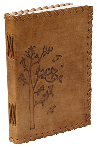 ITEM on SALE – Genuine Leather Journal (Tree of LIFE) – 7 Personal Notebook in Golden-Brown – Handmade Embossed Leather – Travel Diaries  Gift Ideas