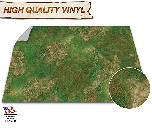 Battle Game Mat - 48x72 - Dungeons & Dragons Tabletop Role Playing Map - Wargaming DND - RPG Dust Warfare & Flames of War - Reusable Miniature Figure Board Games - 40k Warhammer Gaming Vinyl (Moss)