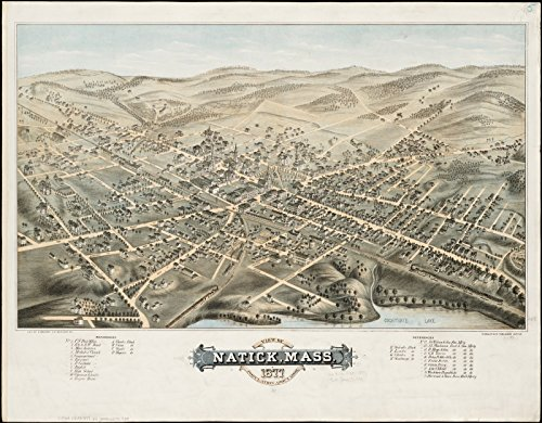 Historic Map | View of Natick, Mass : 1877, population about 8000 | Antique Vintage - Natick Of Mass Map