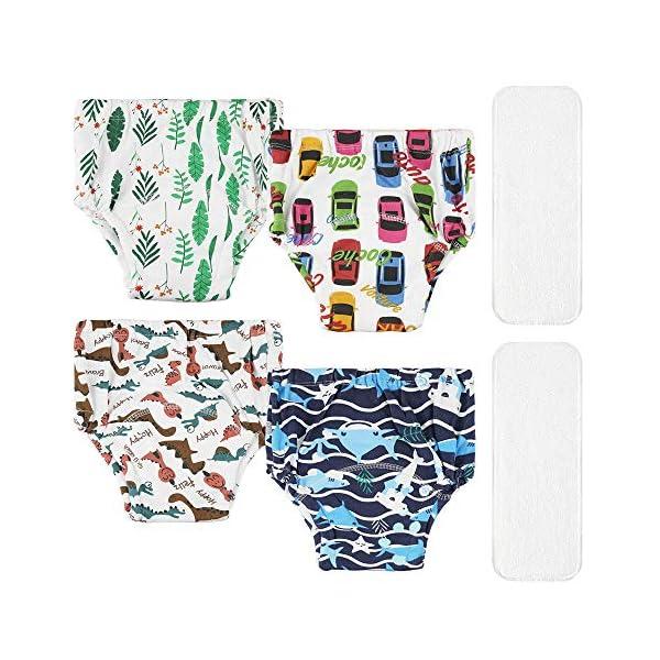 Lictin 4 Pezzi Mutandine di Apprendimento - 2 Pezzi Pannolini riutilizzabili con Pantaloni da Allenamento vasino a 7… 1