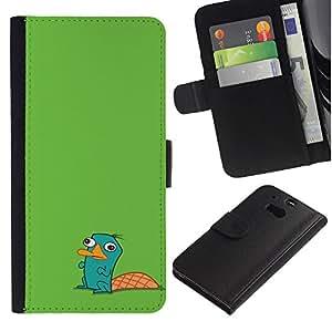 Be Good Phone Accessory // Caso del tirón Billetera de Cuero Titular de la tarjeta Carcasa Funda de Protección para HTC One M8 // Beaver Green Cute Drawing Character Kids