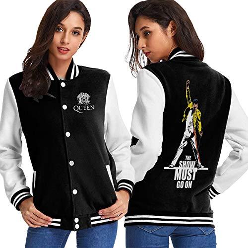 Freddie Mercury Queen-Rock-Band M Womens Baseball Jacket Sweater Sport Top Coat Outerwear Black -
