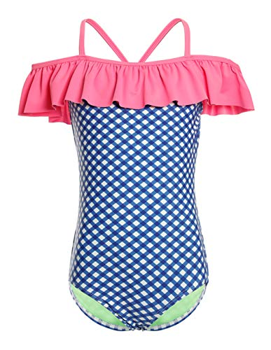 LEINASEN Kids Ruffles Off The Shoulder Plaid Pattern One Piece Bathing Suit for Girls - Lined Plaid Suit