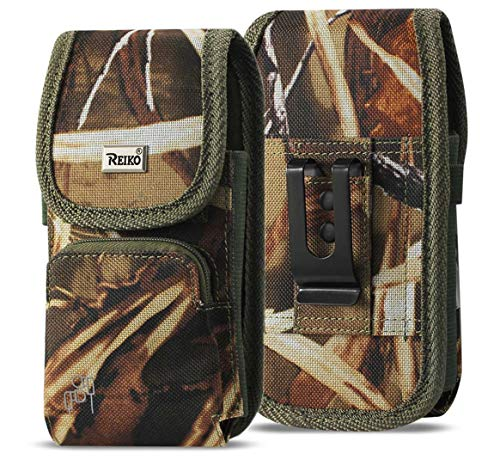 (Military Grade Camo Case w/Storage Pocket, Compatible w/iPhone Xs Max XR iPhone 8 Plus,7 Plus,6s Plus, OnePlus 6T Rugged Canvas Pouch Holster Carrying Bag Fits Phone with Waterproof and Commuter)