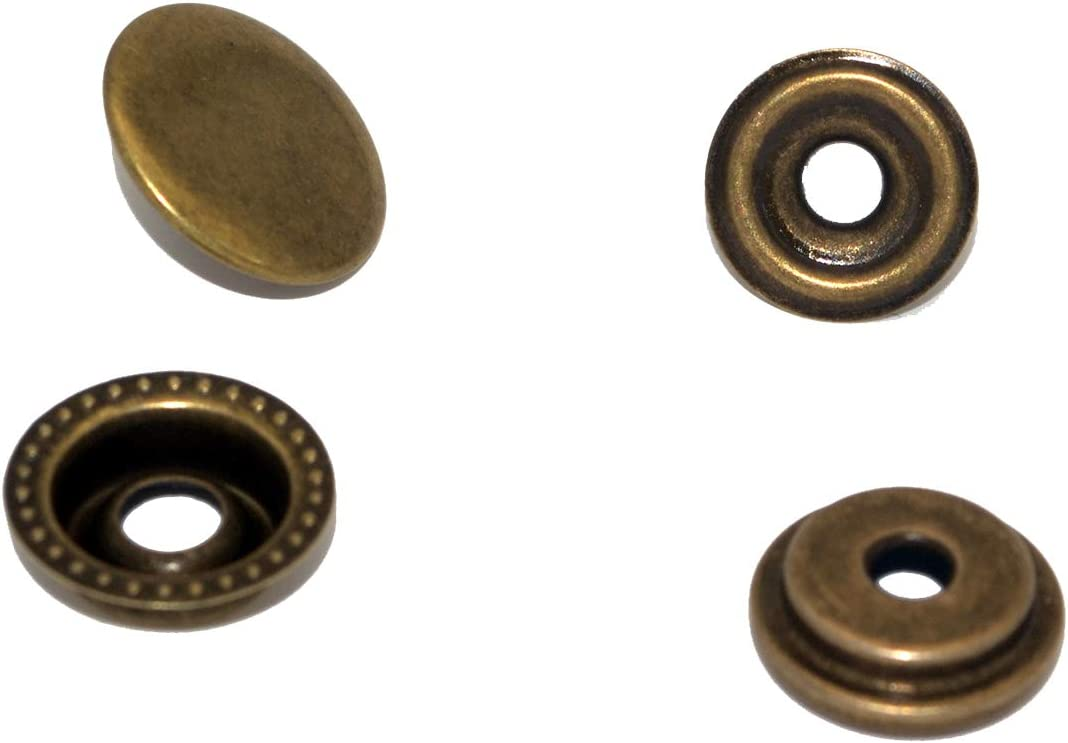 4 Components, 18pcs for Each 72pcs 15MM Stainless Steel Fastener Snap Press Stud Button for Marine Boat Canvas with Punching Set Tool Kit Antique Bronze