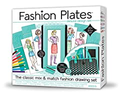 Kahootz-Fashion plates deluxe kit. Create your own unique fashions with this mix and match drawing set! this 12x13x2 inch package contains fifteen fashion plates, twenty sheets of papers, eight colored pencils, two rubbing crayons, one crayon...