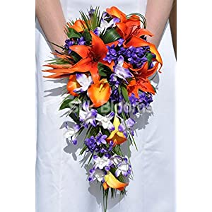 Tropical Orange Calla Lily, Oriental Lily, Dendrobium Orchid and Bird of Paradise Cascade Bridal Bouquet 38