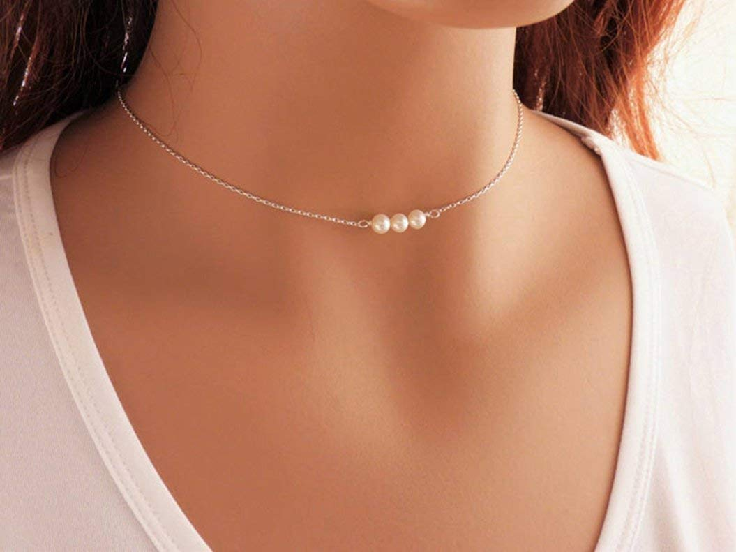 Sterling Silver Pearl Choker Necklace Handmade with 3 Dainty Real Freshwater Pearl for Women or Girl