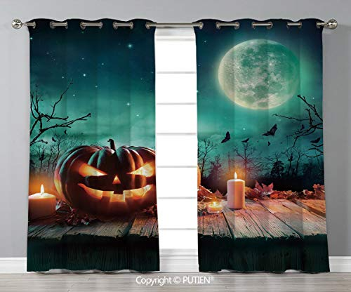 Grommet Blackout Window Curtains Drapes [ Halloween,Fantastic Magic Night Spooky Atmosphere Candles Pumpkin on Wooden Planks Print,Multicolor ] for Living Room Bedroom Dorm Room Classroom Kitchen Cafe]()