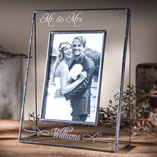 J Devlin Pic 319-57V EP503 Personalized Mr and Mrs Wedding 5x7 Glass Picture Frame Vertical Portrait Photo Keepsake Gift