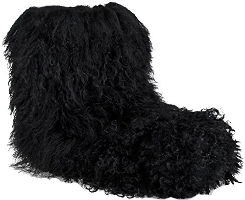 Ugg Fur Boots (UGG Womens Fluff Momma Mongolian Black Boot - 7)