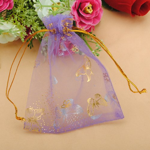 """100pcs Butterfly Purple Eyelash Organza Drawstring Pouches Jewelry Party Wedding Favor Gift Bags 3.8""""X4.7"""""""