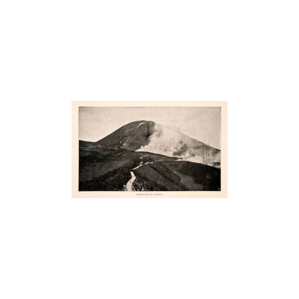 1904 Print Cinder Cone Vesuvius Italy Volcano Mountain Hillside Valley Lava   Original Halftone Print