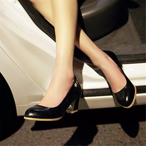 Black Mujer Tamaño Grueso Altos Zapatos Talón de de Tacón única Gran Zapatos de Tacones desembocadura Zapatos wcw1Z0aqI