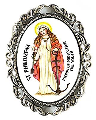 """St Philomena Patron of Protecing Youth Huge 2"""" Antique Silver Pin Brooche"""