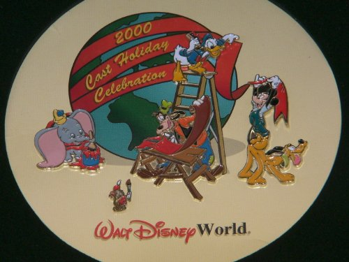 "Disney Trading Pins - ""2000 Cast Holiday Celebration"" Cast Member Exclusive Set in Display Box"